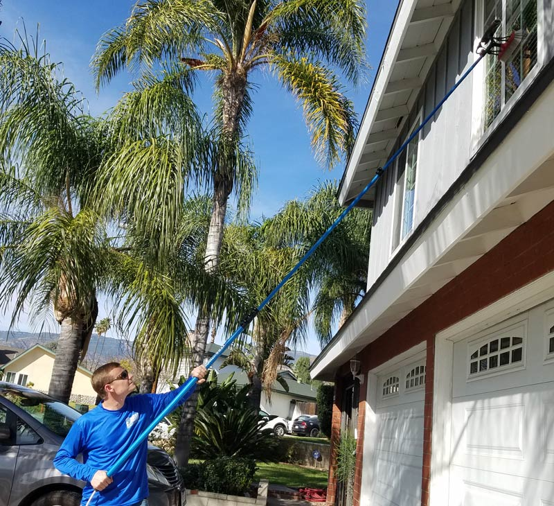 residential window cleaning two story home