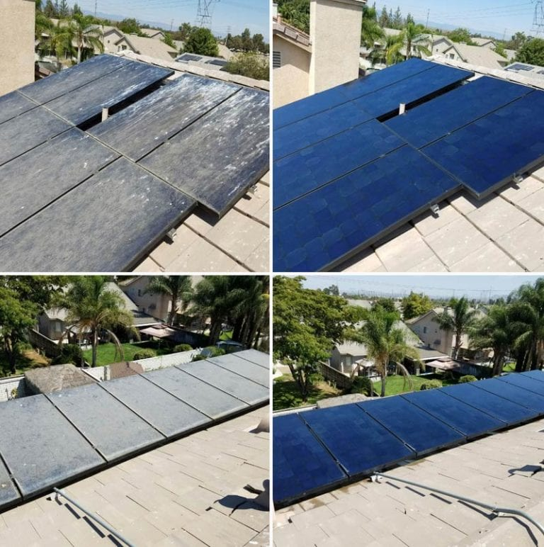 residential solar panel cleaning before and after